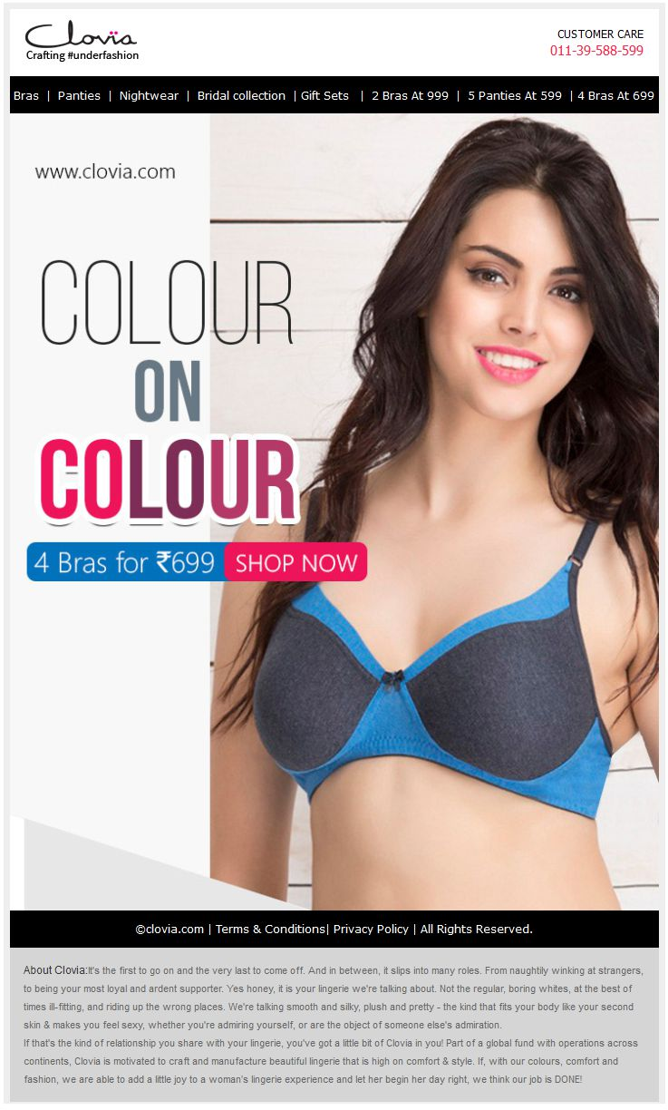 COLOUR ON COLOUR! Pick Any 4 Bras For Just Rs 699.- Hurry Shop Now!